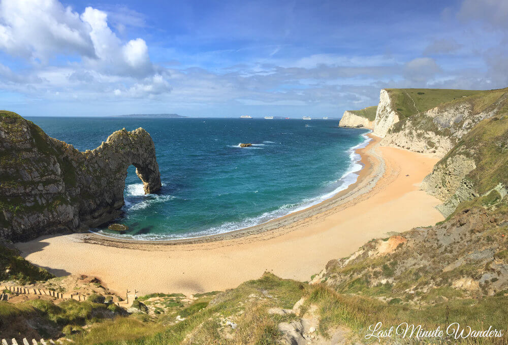 Rock arch formation and beach