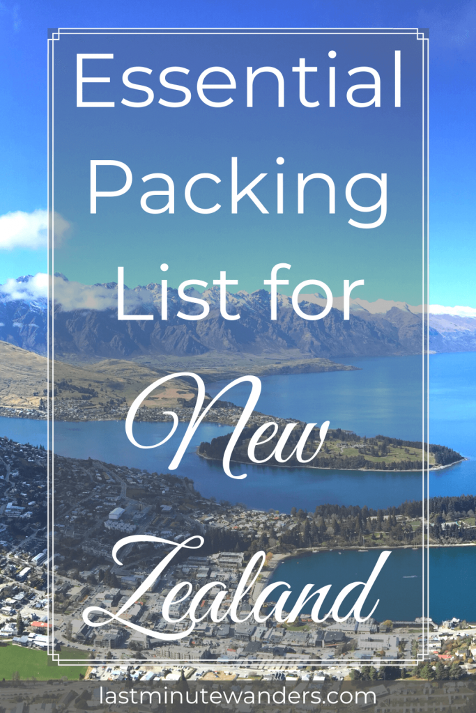 Aerial view of lakeside town with mountains and text overlay - Essential Packing List for New Zealand