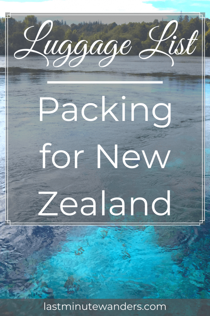 Very blue water in pool with text overlay - Luggage List: Packing for New Zealand