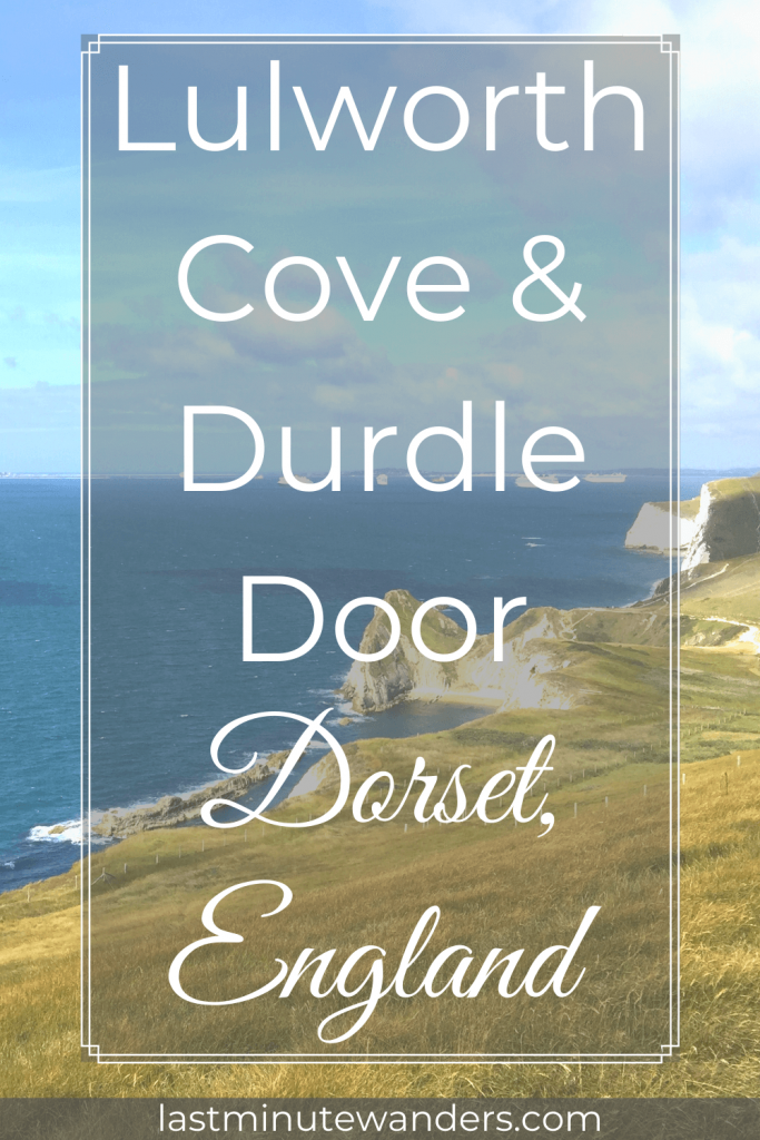 Coastal cliffs with text overlay - Lulworth Cove & Durdle Door Dorset, England