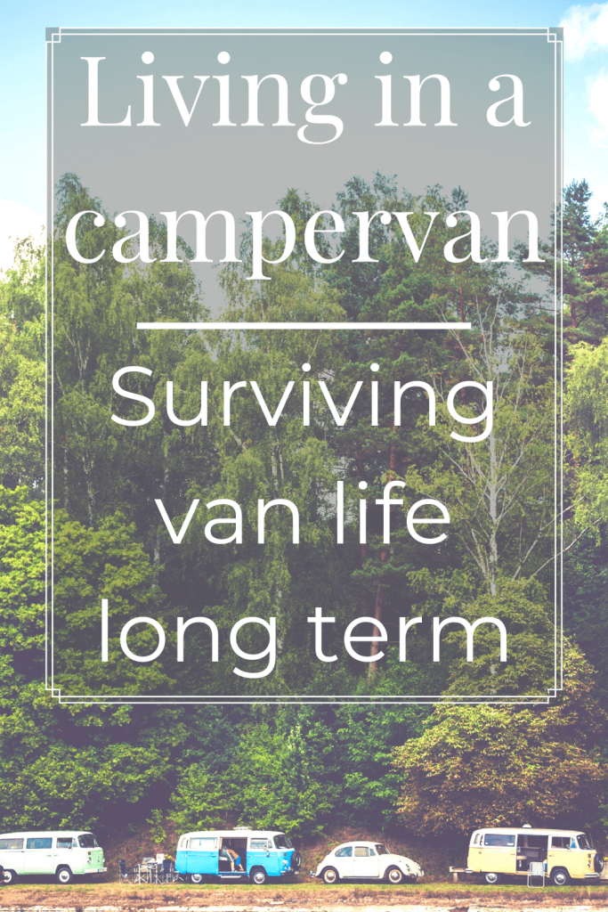 Forest trees with line of campervans in front with text overlay - Living in a campervan: surviving van life long term