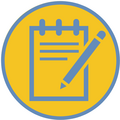 Yellow circle outlined in blue with line image of a notepad and pencil inside.