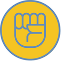 Yellow circle outlined in blue with a line image of a closed fist inside.