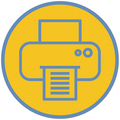 Yellow circle outlined in blue with line image of a printer.