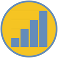 Yellow circle outlined in blue with image of a bar graph inside.
