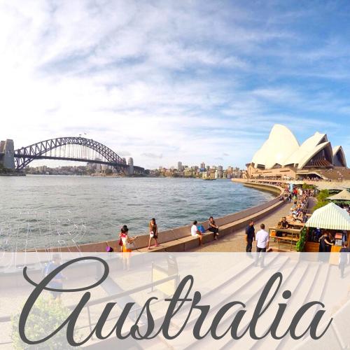 Sydney Opera House and Harbour Bridge with text overlay - Australia