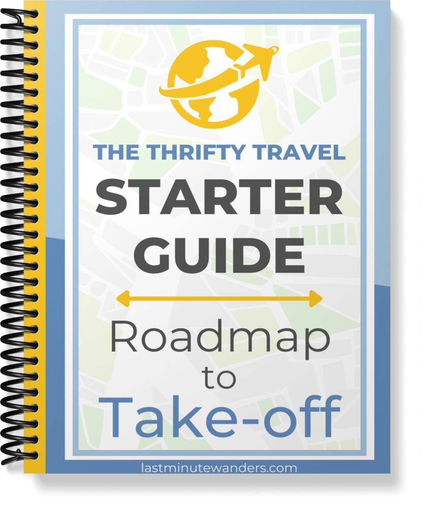 Spiral-bound book with cover text that reads: The Thrifty Travel Starter Guide - Roadmap to Take-off