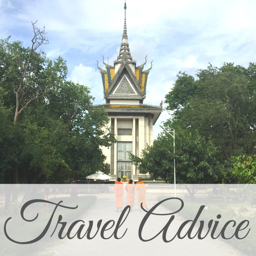 Decorated tower with three Buddhist monks in front with text overlay - Travel Advice