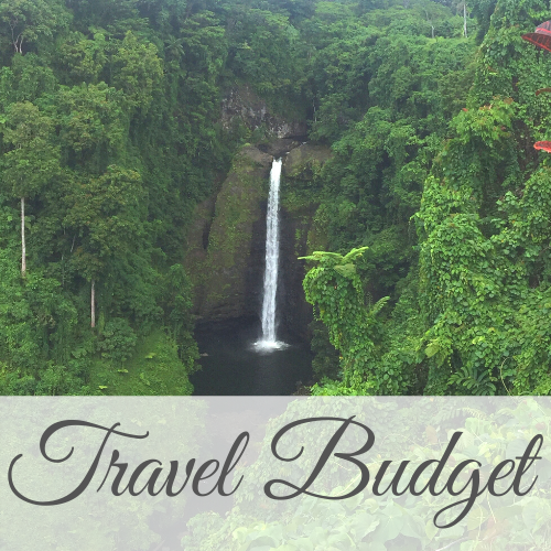 High waterfall surrounded by lush greenery with text overlay - Travel Budget