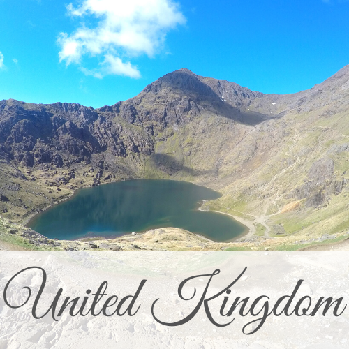 Mountain over lake with text overlay - United Kingdom